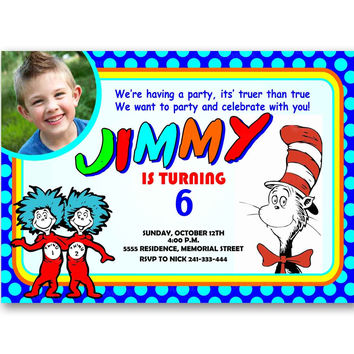 Dr Seus Thing1 Thing 2 The Lorax Polka Dot Colorful Kids Birthday Invitation Party Design