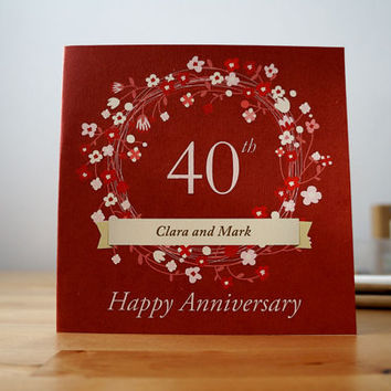 Happy Anniversary Greeting Card - PERSONALIZED with Name and anniversary number