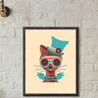 "Printable Wall art Poster /  steampunk cat / 8""x10"" Instant Download print for home Decor TheLabelBoutique digital artwork"