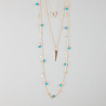 Full Tilt 3 Row Layered Triangle/Arrowhead/Beaded Necklace Metal One Size For Women 25975590101