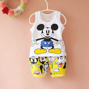 Mickey Mouse Set Sleeveless Shirt + Shorts Baby Clothing