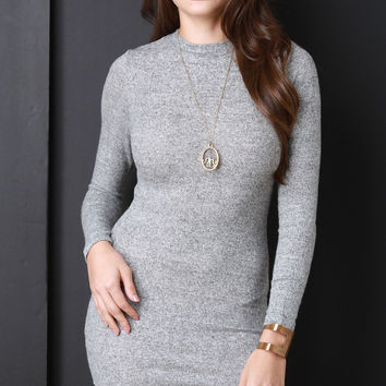Marled Knit Long Sleeve Bodycon Dress