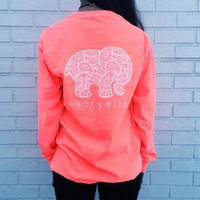 DCCKFC8 2016 Trending Fashion Pink Ivory Ella Cartoon Elephant Long Sleeve Round Necked Top Shirt T-Shirt