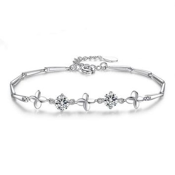 Hot Sale Awesome Gift Great Deal Shiny New Arrival Stylish Jewelry Silver Accessory Leaf Korean Bracelet [10417743764]