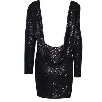 Sequined Backless Long Sleeve Mini Bodycon Dress
