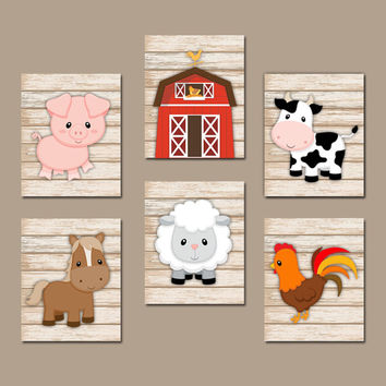 FARM Animals Wall Art, Canvas or Prints, Country Baby Boy Nursery Artwork, Cow Pig Barn Rooster Sheep Horse Western Wood Bedroom Set of 6