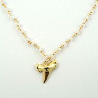 Moonstone Shark Tooth Necklace