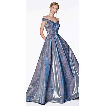 Off the Shoulder Royal Blue Ball Gown with Glitter Effect and Pockets