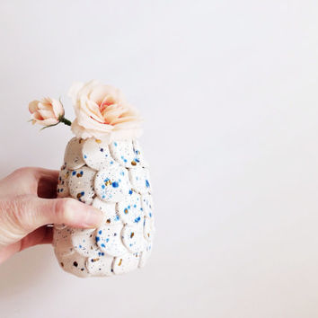 Ceramic Bud Vase - Small Vase - Gold Decor - Blue Bud Vase - Ceramic Vase - Ceramics and Pottery - Home and Living - Home Decor - Vase