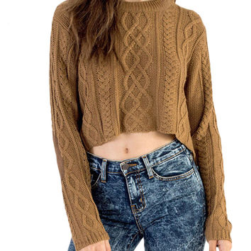 Dip Hem Round Neck Knitted Sweater