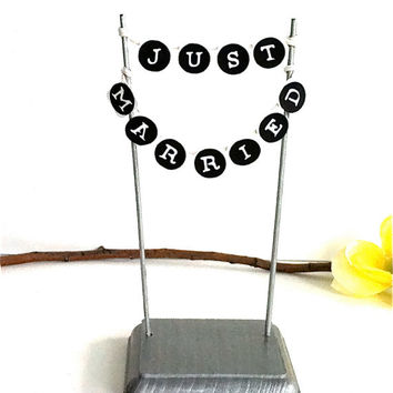 Add On Custom Wedding Cake Topper Stand with Just Married Bunting Banner Sign To Go With Wood Peg Doll Toppers Keepsake Groom Cute