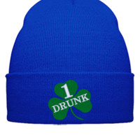 DRUNK 1 embroidery hat  - Beanie Cuffed Knit Cap