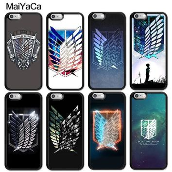 Cool Attack on Titan MaiYaCa  Wings Of Liberty Flag Print Soft TPU Phone Cases For iPhone 6 6S Plus 7 8 Plus X 5S SE Back Shell Cover AT_90_11