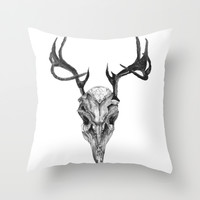Deer bone & antler Throw Pillow by Cherry Virginia