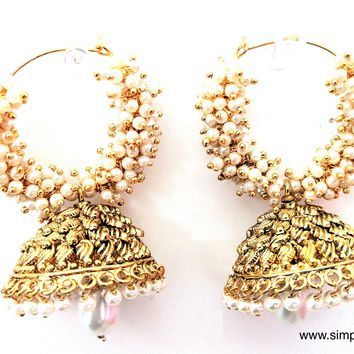 Pearl clustered Ring Large Jhumka Earring