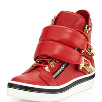Calf Leather High-Top Sneaker, Red - Giuseppe Zanotti