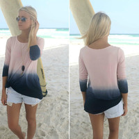 Long Sleeve Ombre Dip Dye T-Shirt