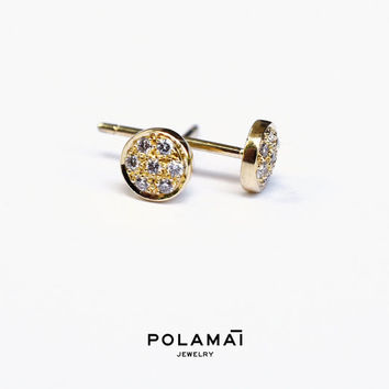 Diamond Stud Earrings 14 Diamond 'Nova' Earrings . Disc Circle Pebble Studs . Solid Yellow White Gold. Polamai
