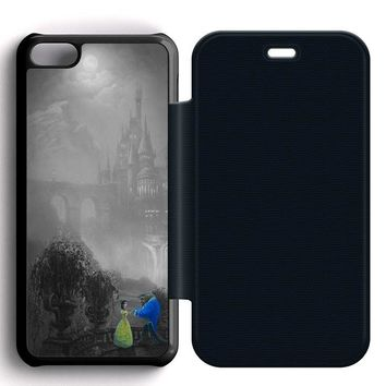Beauty and the Beast Black Leather Wallet Flip Case iPhone 5C