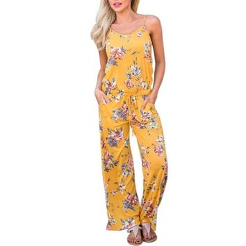 New Summer Fashion Sexy Sling Printed Loose Rompers Flower Jumpsuit
