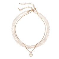 Faux Pearl Link Chain Necklace