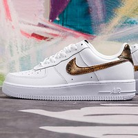NIKE AIR FORCE new men's and women's black gold python hook low-top classic sneakers