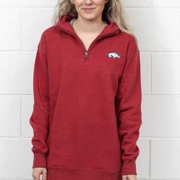 Arkansas Razorback Quarter Zip Pullover {Deep Red}