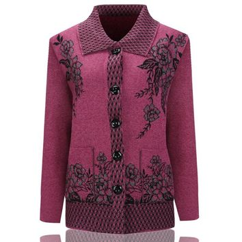 Sweater Knitted Cardigan Sweater Coat 2018 Fall Winter Middle Age Mother Plus Size Women Knitwear Top Printed Grandma Clothes