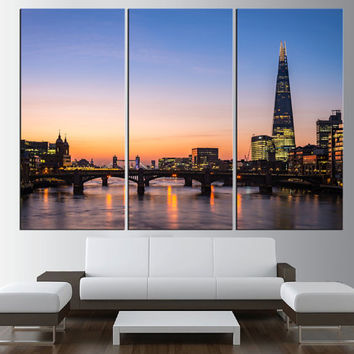 Tower Bridge in London Skyline wall art, extra large wall art print canvas, gallery art, london sunset cityscape large canvas print art t385