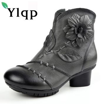2017 High Quality Mujer Chaussure Women Genuine Leather Boots Casual Ladies Martin Shoes Summer Flat Boots Push Large Size Shoe