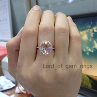 10x12mm Oval Morganite Diamond Engagement Ring Halo in 14k Rose Gold 0.32ct