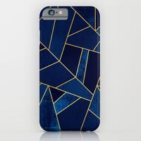 Blue stone with gold lines iPhone & iPod Case by Elisabeth Fredriksson