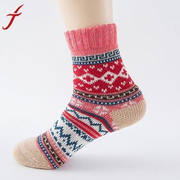 32cm High Quality Womens Cashmere Wool Thick Warm Socks Winter Fashion Striped S