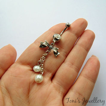 White Pearls and Bow Belly Ring - Stainless Steel, Rhinestone