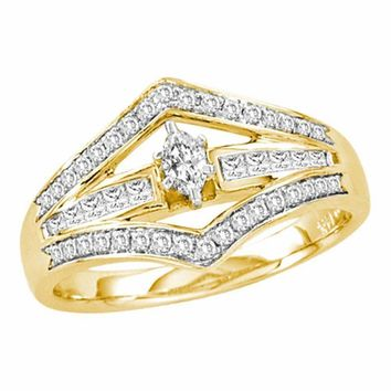 14kt Yellow Gold Women's Marquise Diamond Marquise Bridal Wedding Engagement Ring 1-2 Cttw - FREE Shipping (US/CAN)