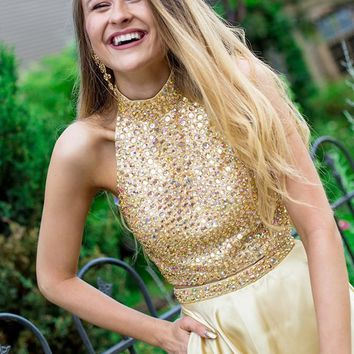 Gold Halter Two Piece Backless Short Homecoming Dresses with Beading