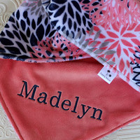 Personalized Baby Girl Blanket, Minky Baby Blanket, Baby Girl Minky Blanket, Monogrammed Blanket, Coral, Navy and Gray Flowers Baby Blanket