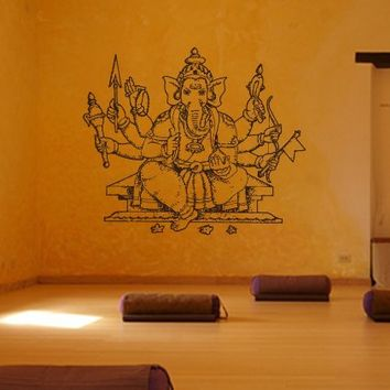 Ik424 Wall Decal Sticker Room Decor Wall Art Mural Indian God Om Elephant Hindu Success Buddha India Ganesha Ganesh Hindu Welfare Bedroom Meditation Yoga