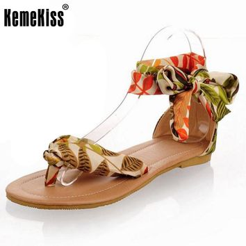 Women Summer T strap colorful Sandals Beach Flat Heel Sandals Woman's Shoes Ribbon Sweet Ladies Leisure shoes size 34-43