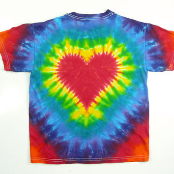 Kids Heart Tie Dye Shirt, Red Rainbow, Sizes XS, S, M, L, XL, Eco-friendly Dyeing