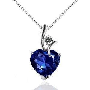 """2.30 Carat Blue & White Sapphire Heart Pendant in Sterling Silver with 18"""" Chain"""