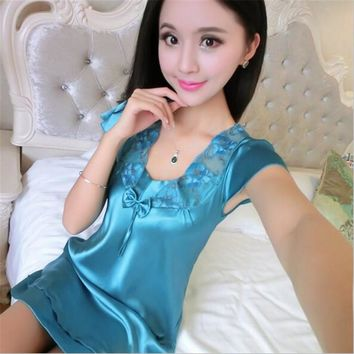 Lady Silk Nightgown Women Nightwear spaghetti strap nightgown female Night Dress Sleeveless Lace Sexy Sleepwear Sleepshirt
