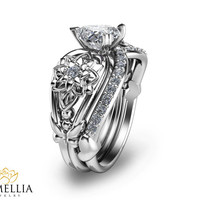 White Gold Engagement Set 14K White Gold Heart Shaped Engagement Ring-Unique Bridal Set