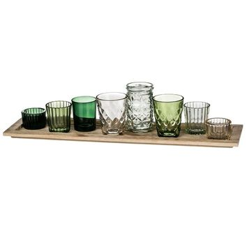 "Set of 8 Assorted Green Glass Votives & Small Vases on Wood Base - 19"" Long"