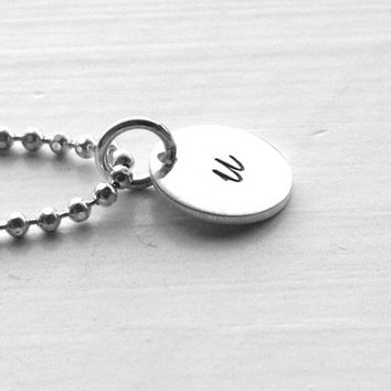 u Initial Necklace, Sterling Silver Jewelry, Small Initial Necklace, Hand Stamped Jewelry, Initial Jewelry, Letter u Pendant, Charm Necklace