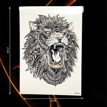 Large Animal Arm Tattoo Indian King Lion Head Design Waterproof Temporary Tattoo Stickers Men Body Back Art Tatoo Sleeve HHB-496