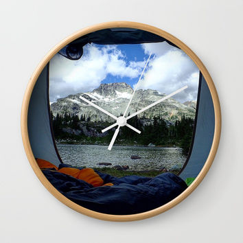 Tent View Wall Clock by Lindsey Jennings Photography