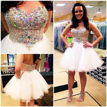 Short Prom Dress Mini 2017 SoDigne Vestido De Festas Curto New Arrival Bling White A Line Rhinestone Sweetheart Crystal