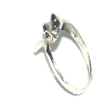 Sterling Silver 925 Cat Head and Tail Ring