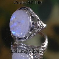 SIZE 10 Hallmark 925 Sterling Silver Natural Rainbow Moonstone Women Ring ST-169